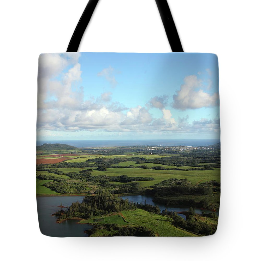 Landscape Tote Bag featuring the photograph High Over Kauai by Mary Haber