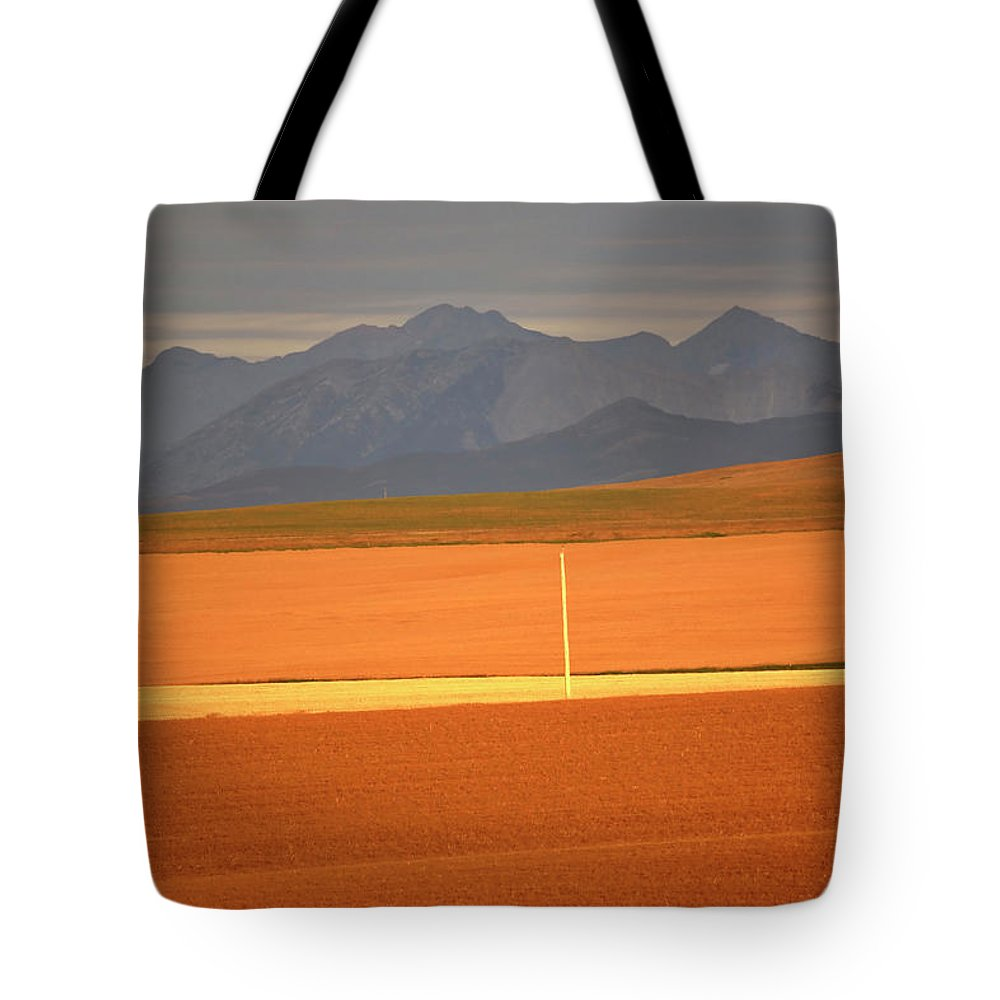 Sunlit Tote Bag featuring the digital art High Plains Of Alberta With Rocky Mountains In Distance by Mark Duffy