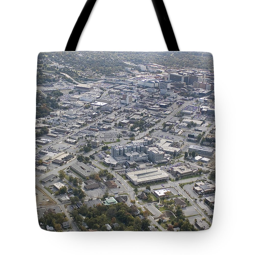 High Point Tote Bag featuring the photograph High Point Nc Aerial by Robert Ponzoni