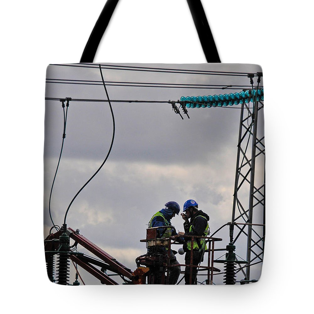 High Power Workers Tote Bag featuring the photograph High Power Workers by Dave Byrne