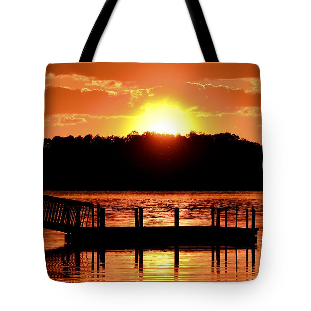 Sunset Tote Bag featuring the photograph High Rock Days End by Tony Hill