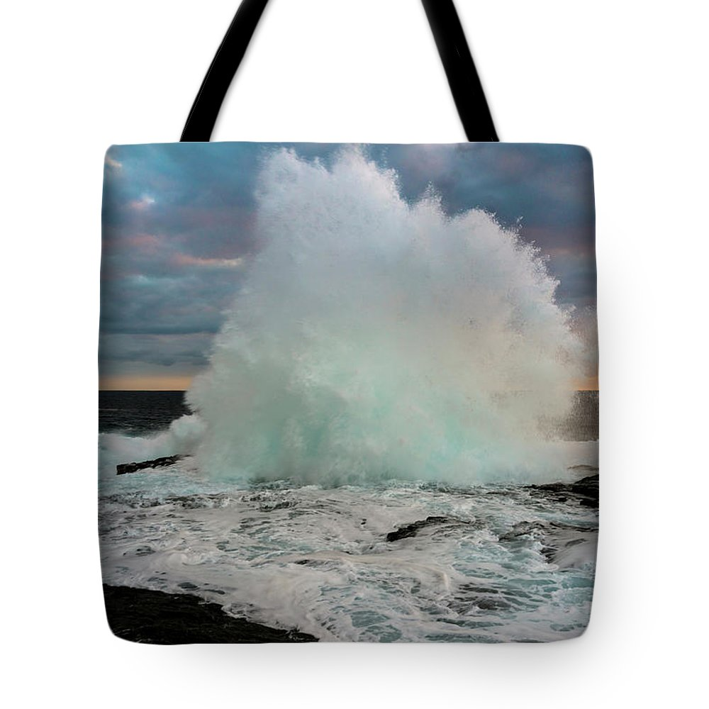 High Surf Tote Bag featuring the photograph High Surf Explosion by Christopher Johnson