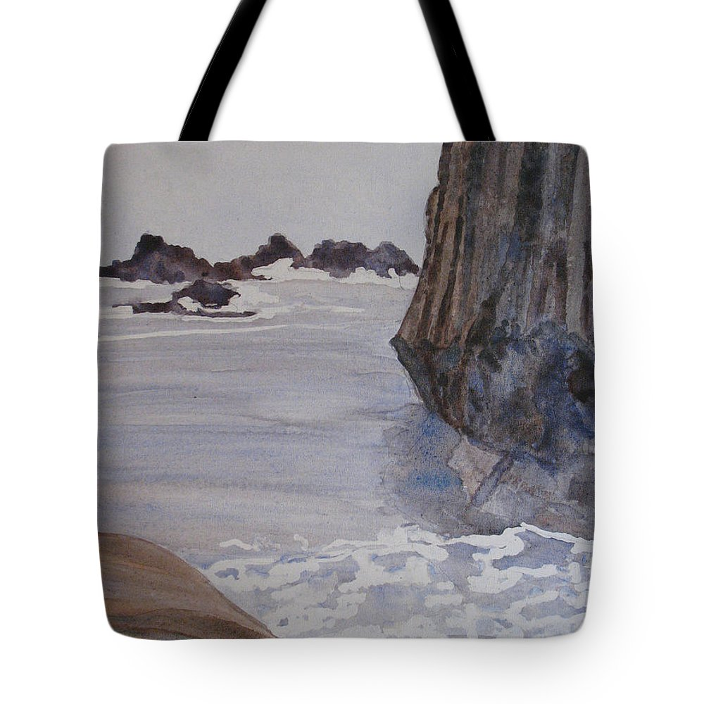 Seapcape. Seascapes Tote Bag featuring the sculpture High Tide At Seal Rock by Jenny Armitage