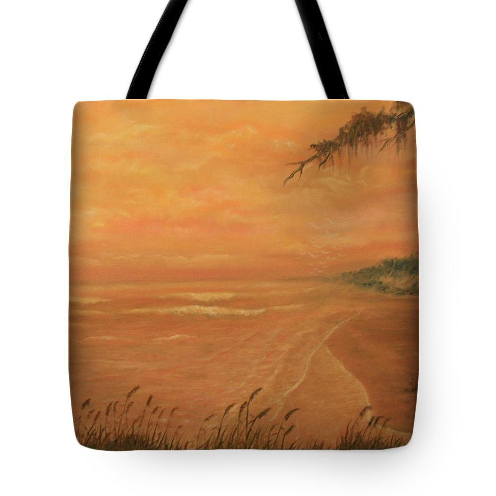 Beach; Ocean; Palm Trees; Water Tote Bag featuring the painting High Tide by Ben Kiger