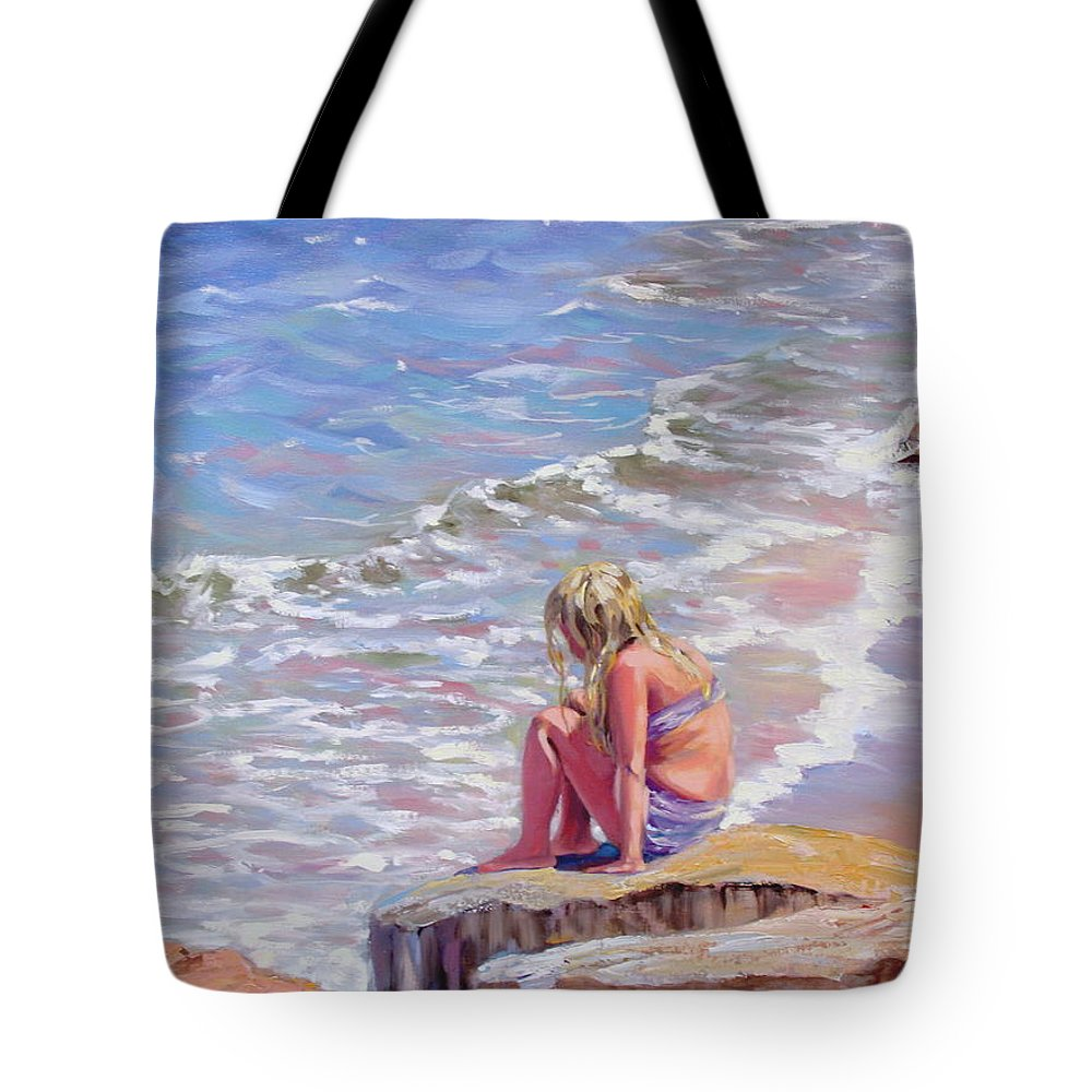 Oil Painting Tote Bag featuring the painting High Tide by Laura Lee Zanghetti