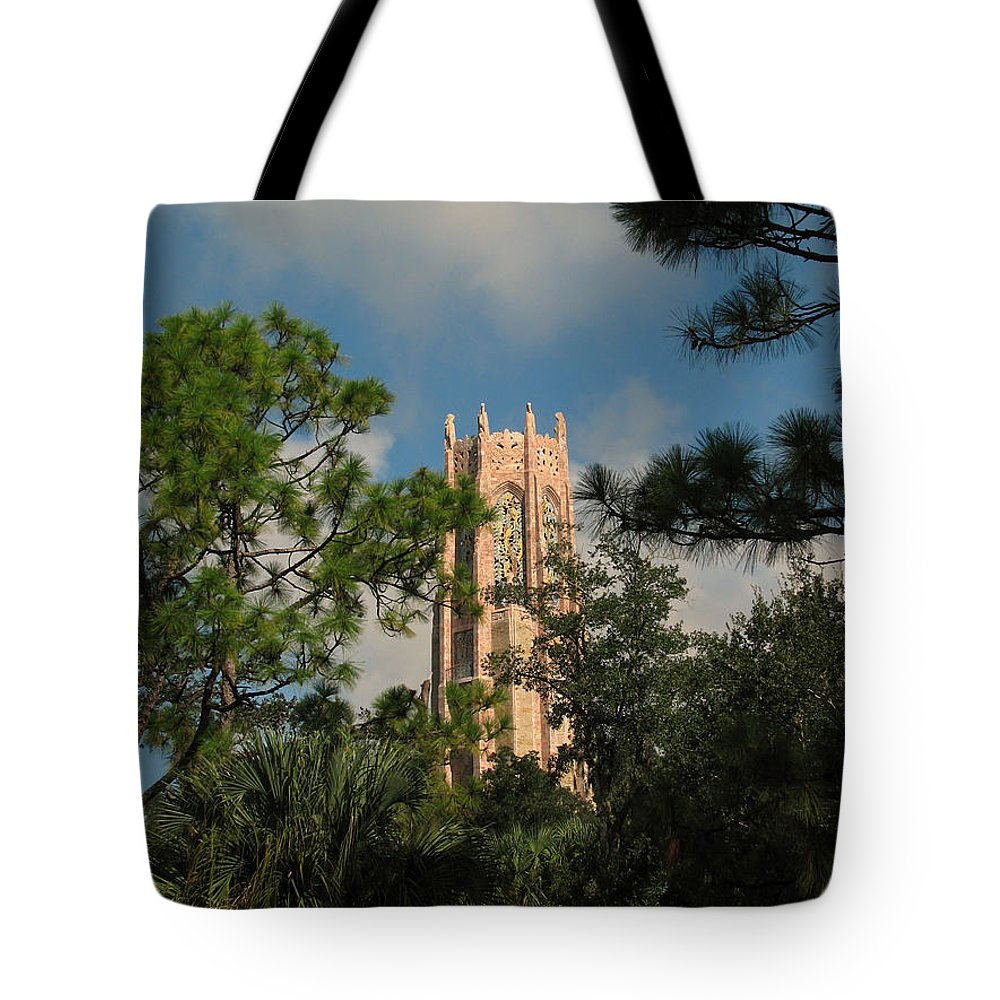 Landscape Tote Bag featuring the photograph High Tower by Peg Urban