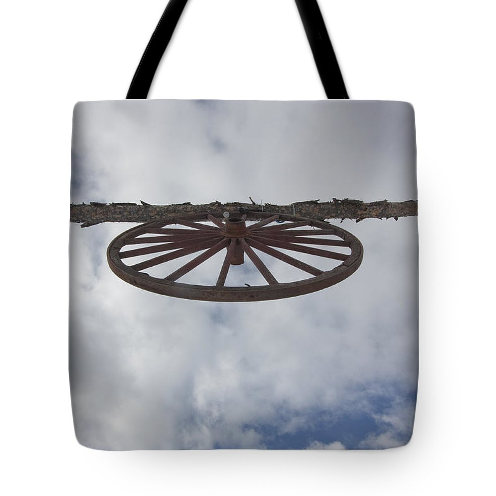Landscape Tote Bag featuring the photograph High Wagon Wheel by Mary Haber
