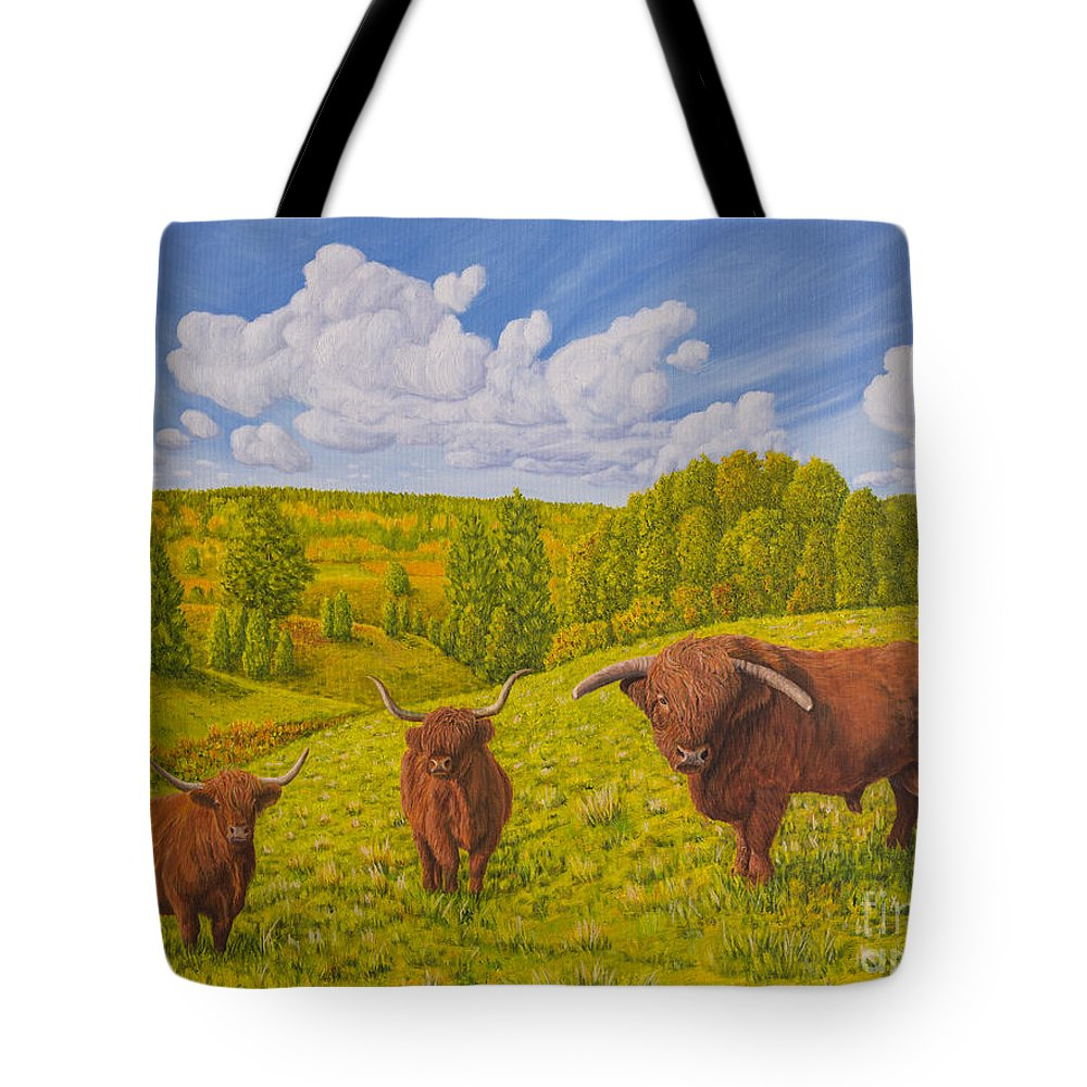 Art Tote Bag featuring the painting Highland Cattle Pasture by Veikko Suikkanen