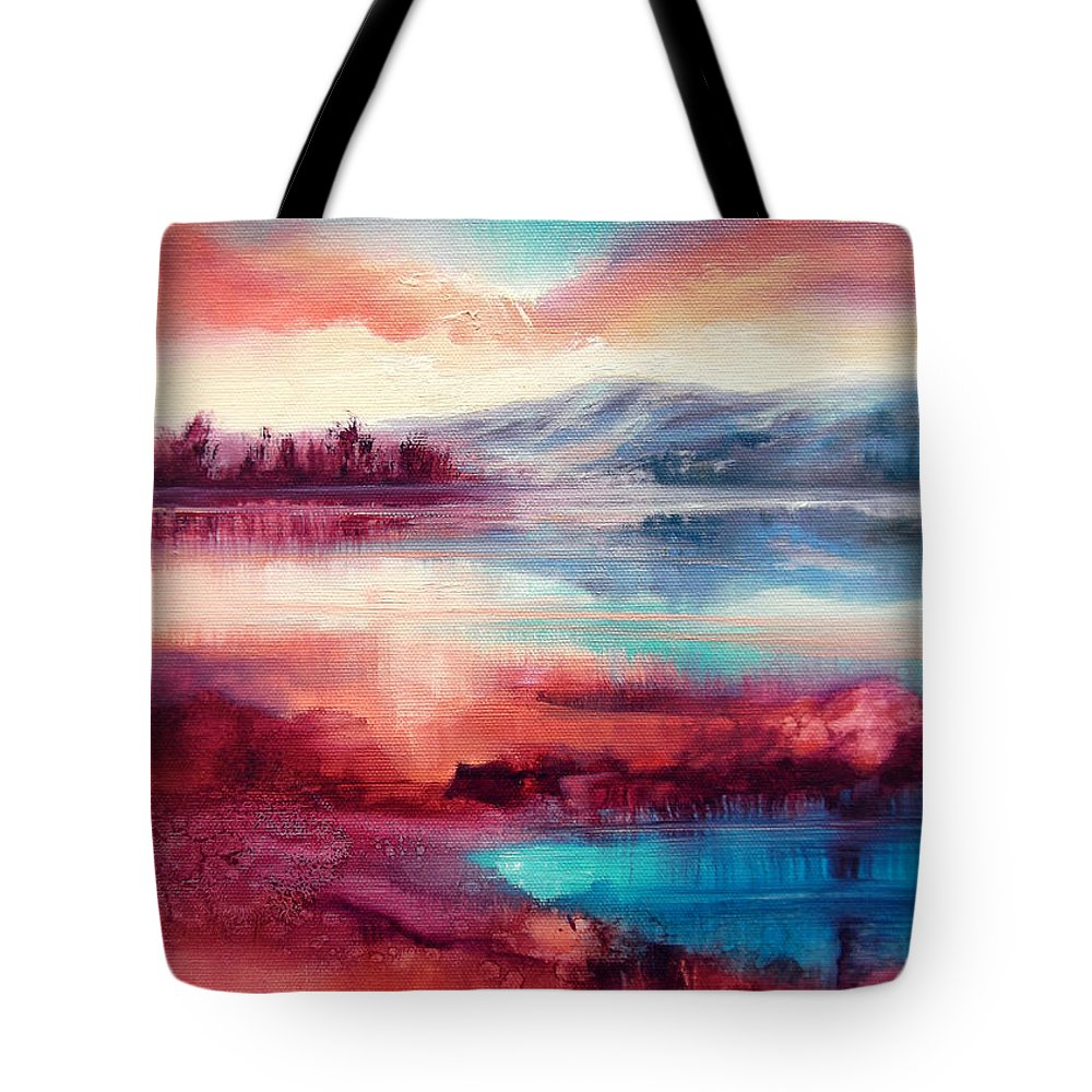 Landscape Tote Bag featuring the painting Highland Sunrise by C J Elsip