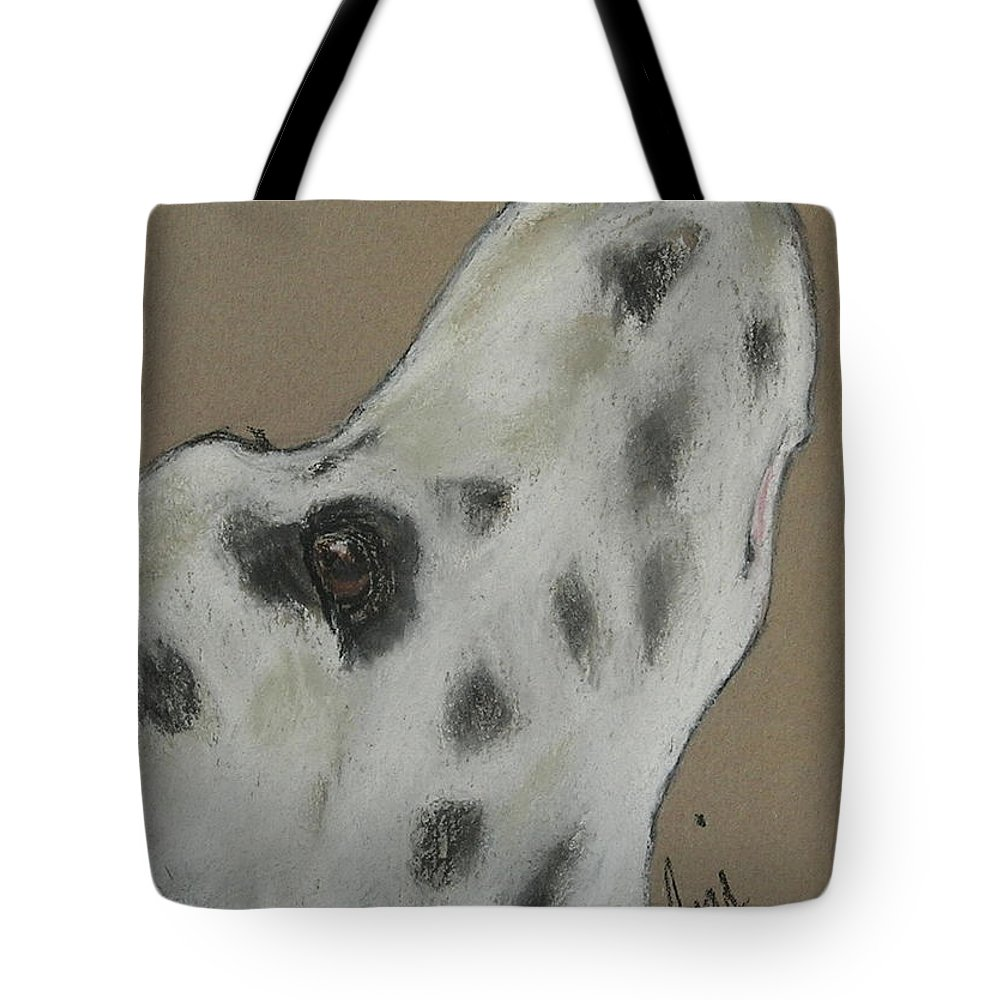 Dalmatian Tote Bag featuring the drawing Highly Motivated by Cori Solomon