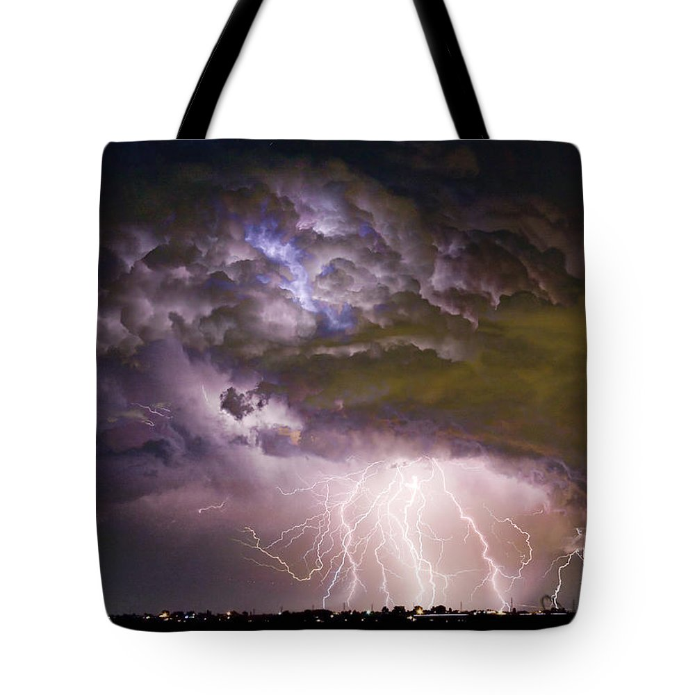 Colorado Lightning Tote Bag featuring the photograph Highway 52 Storm Cell - Two And Half Minutes Lightning Strikes by James BO Insogna