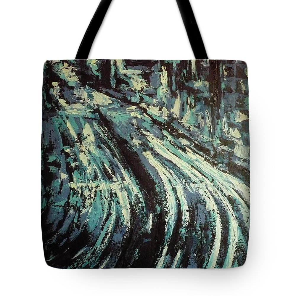 Highway Tote Bag featuring the painting Highway Highlighted by Ericka Herazo