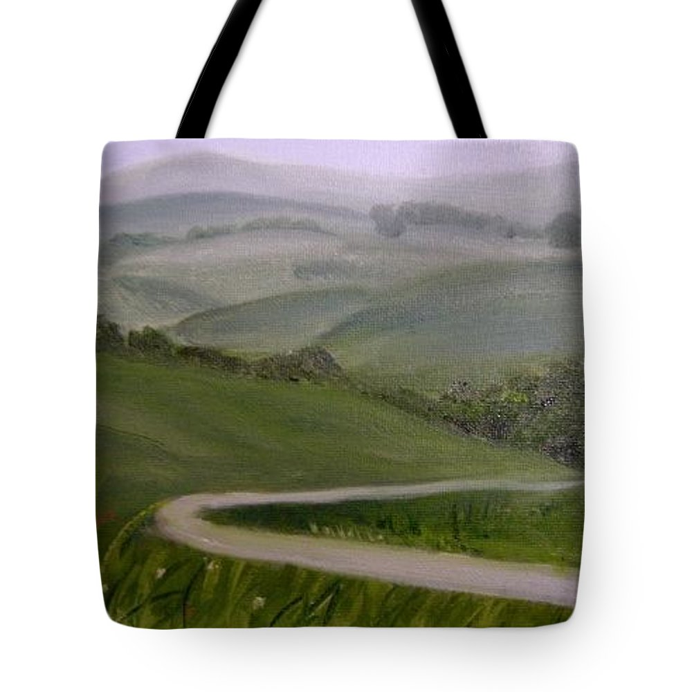 Pathway Tote Bag featuring the painting Highway Into The Hills by Toni Berry