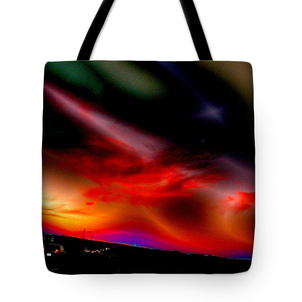 Sunset Tote Bag featuring the digital art Highway Surreal Sunset by Abstract Angel Artist Stephen K