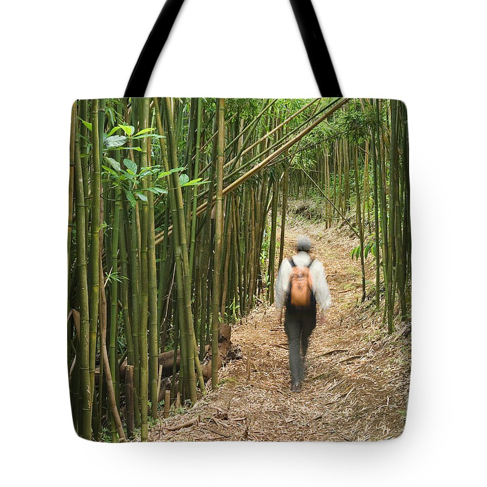 Adventure Tote Bag featuring the photograph Hiker In Bamboo Forest by Greg Vaughn - Printscapes