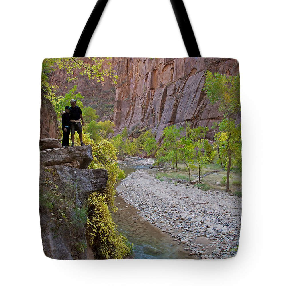 Zion National Park Tote Bag featuring the photograph Hikers Zion National Park by Daryl L Hunter