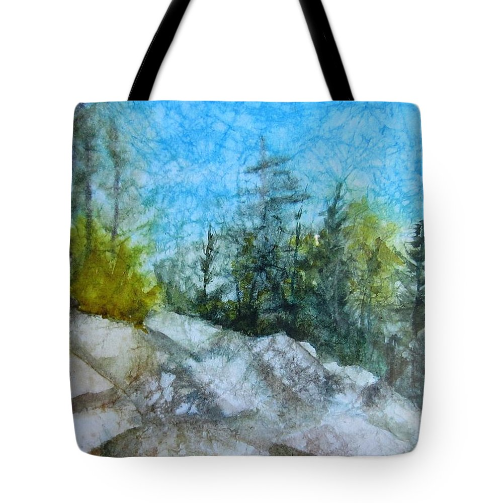 Montana Tote Bag featuring the painting Hiking In Montana by Dolores Pettit