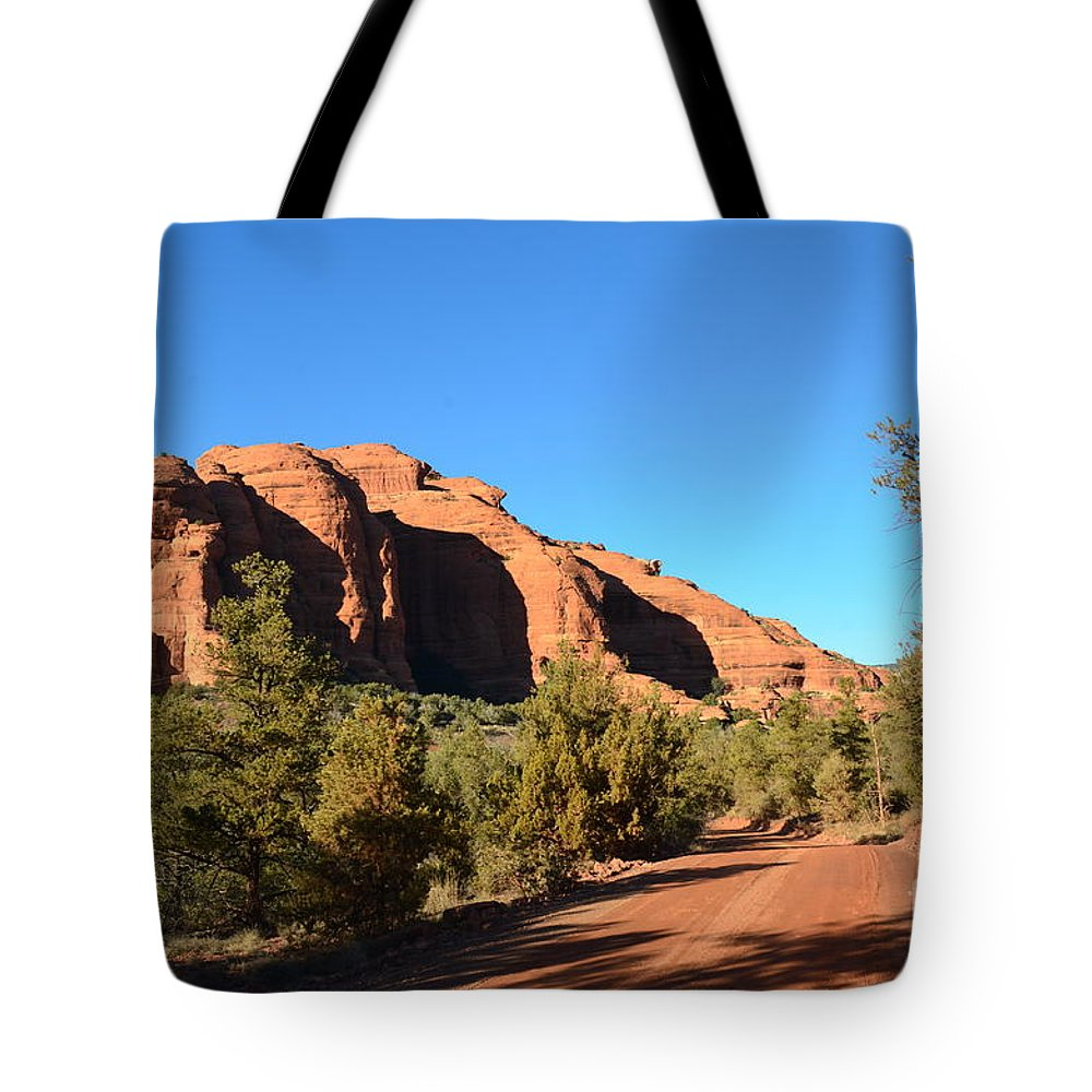 Red Rock Tote Bag featuring the photograph Hiking In Red Rocks In Arizona by DejaVu Designs