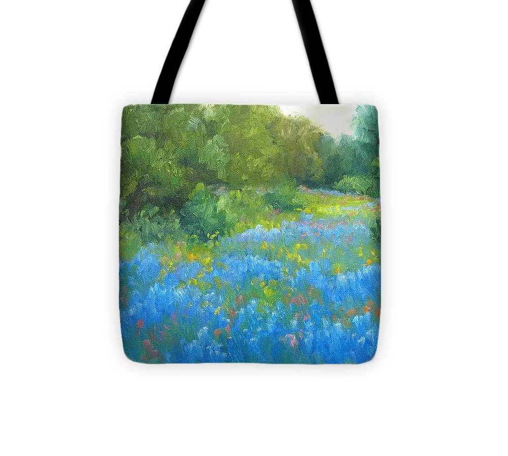 Bluebonnets Tote Bag featuring the painting Hill Country Blues by Bunny Oliver