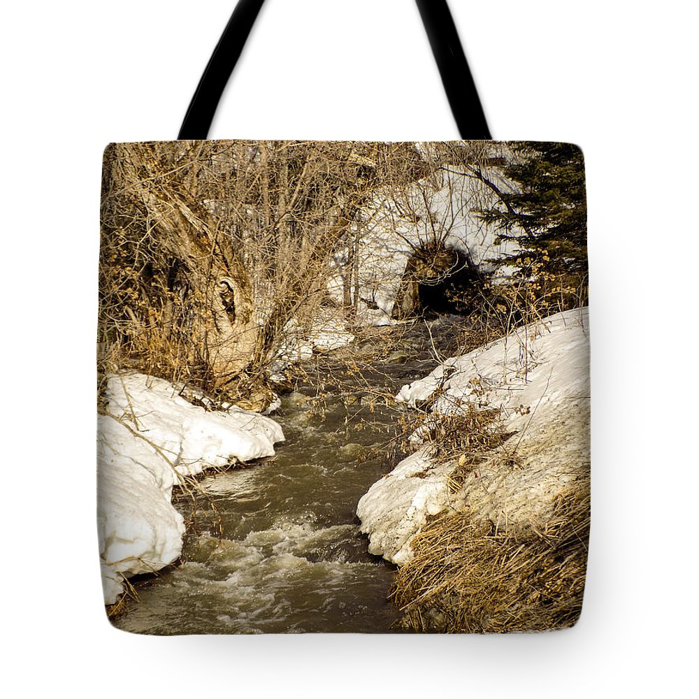 Spring Tote Bag featuring the photograph Hill Drain 2 by William Tasker