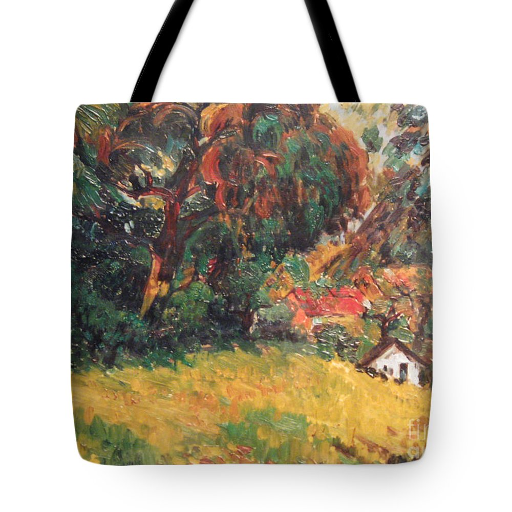 Tree Tote Bag featuring the painting On the Hill by Meihua Lu