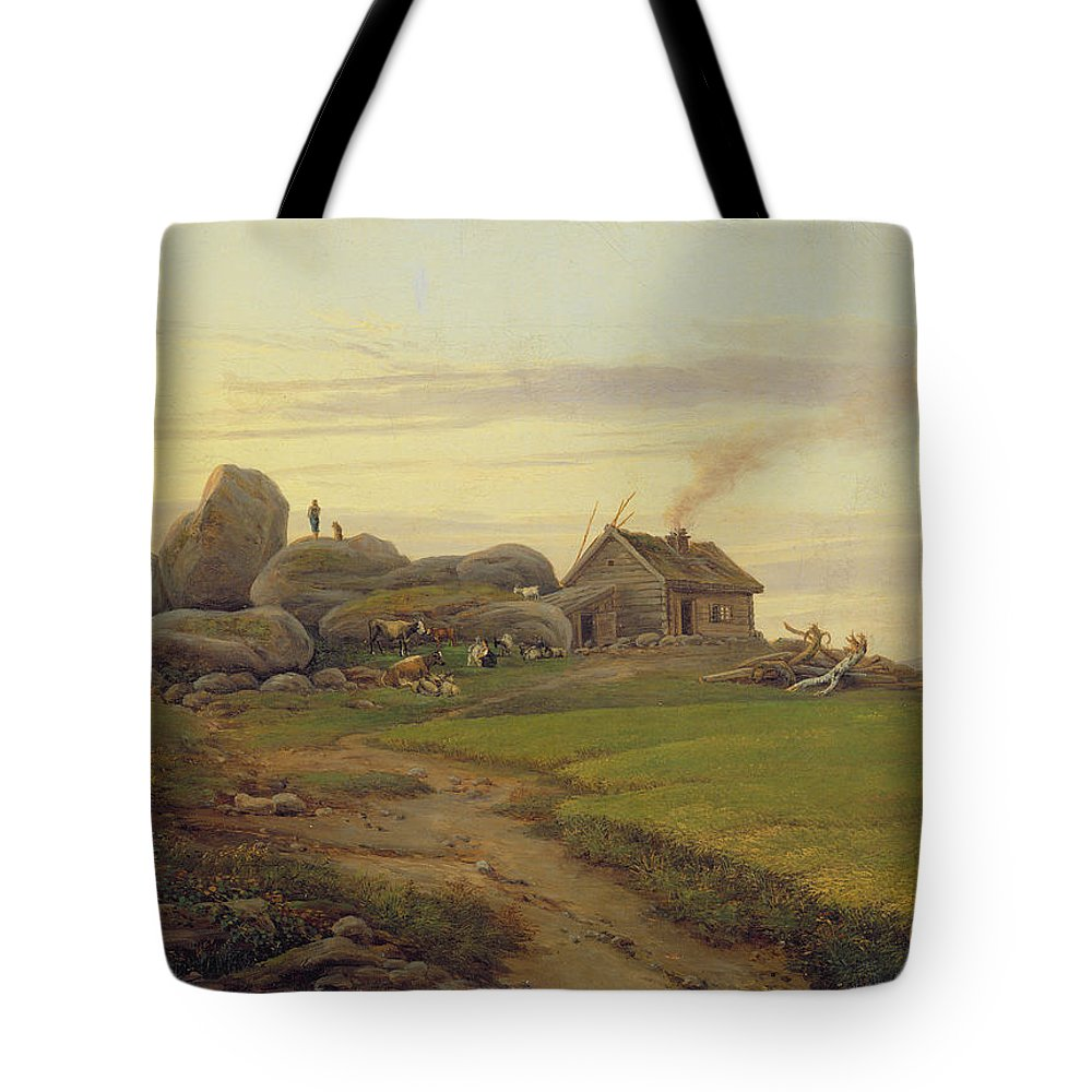 Hill Tote Bag featuring the painting Hill Top by Heinrich Stuhlmann
