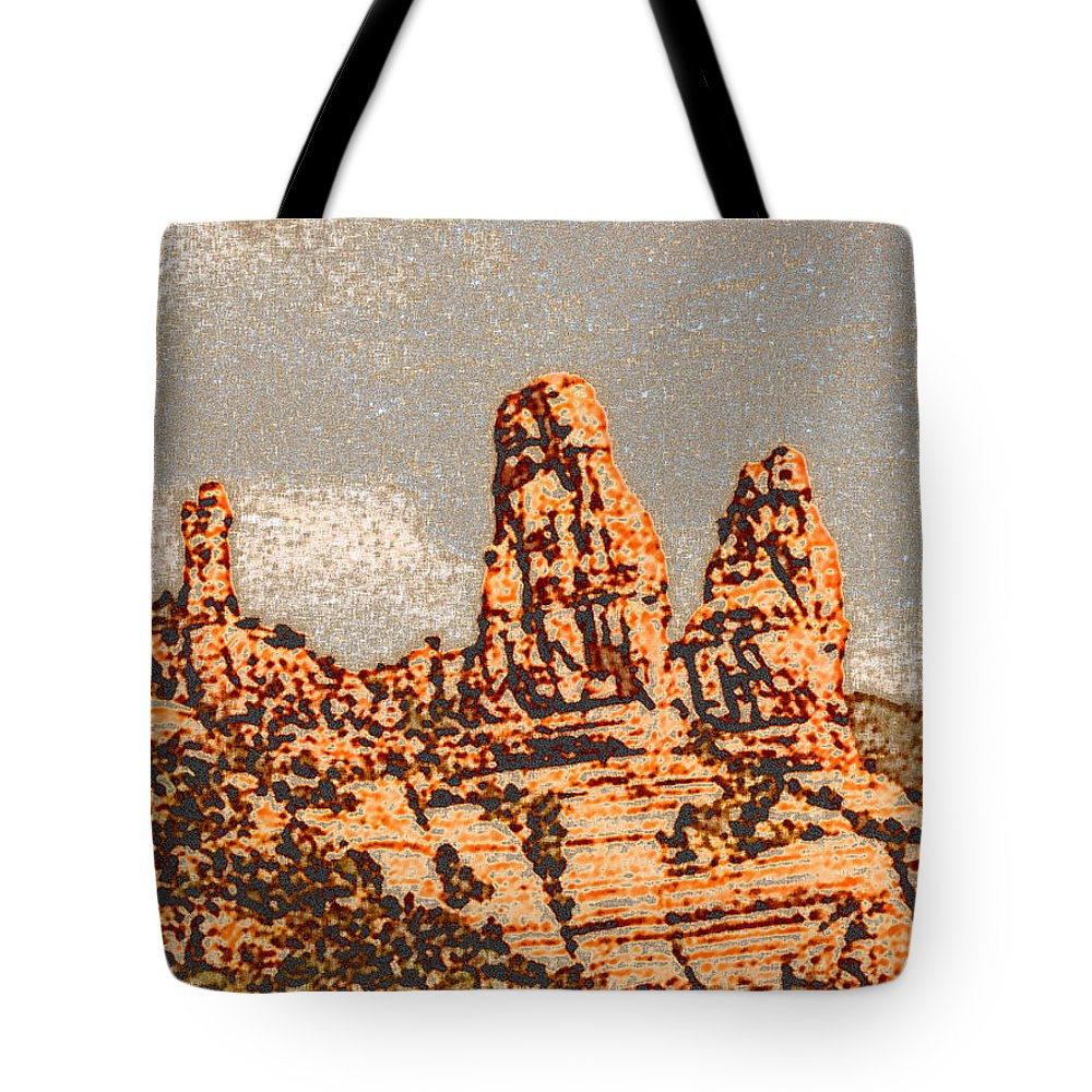 Altered Photography Tote Bag featuring the photograph Hills in Sedona by Wayne Potrafka