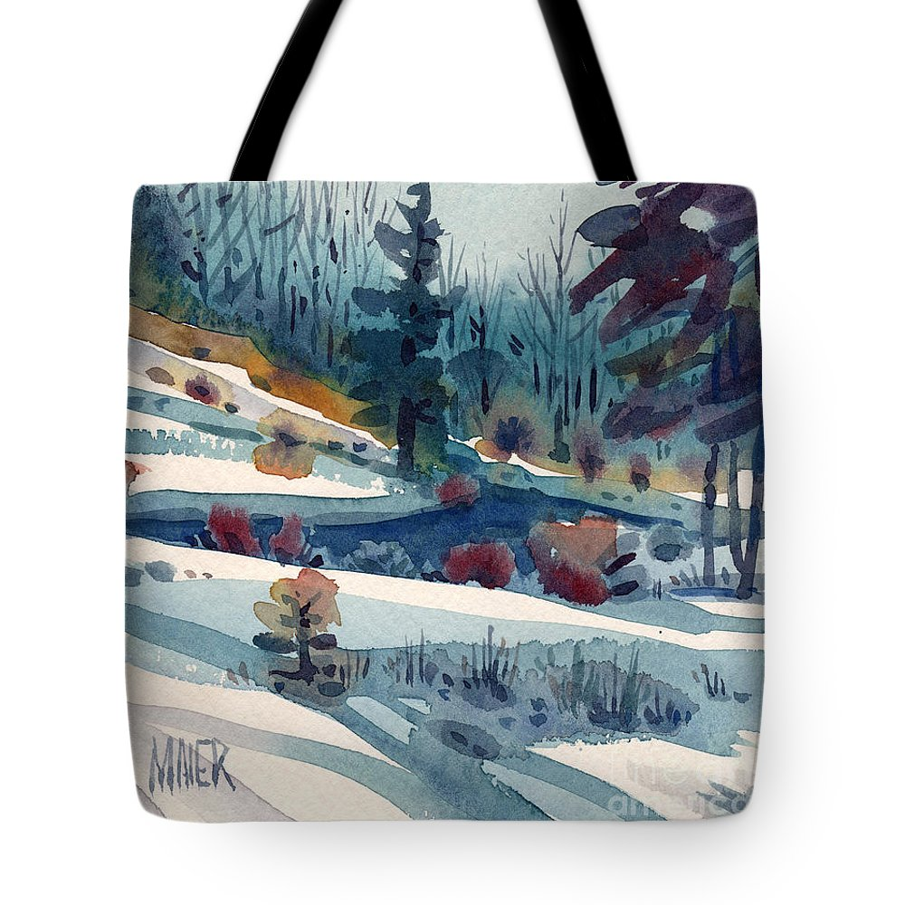 Snow Tote Bag featuring the painting Hillside in Winter by Donald Maier