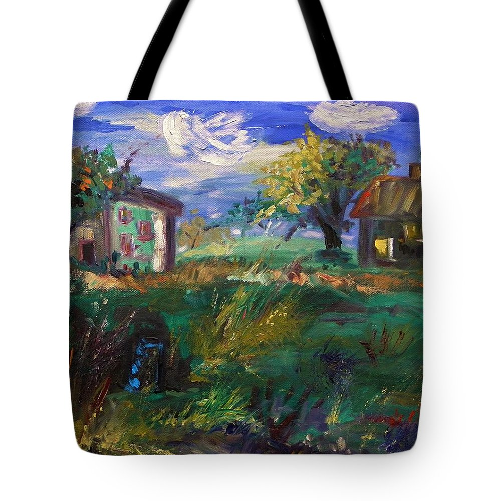 Landscape Tote Bag featuring the painting Hillside Tranquility by Mary Carol Williams