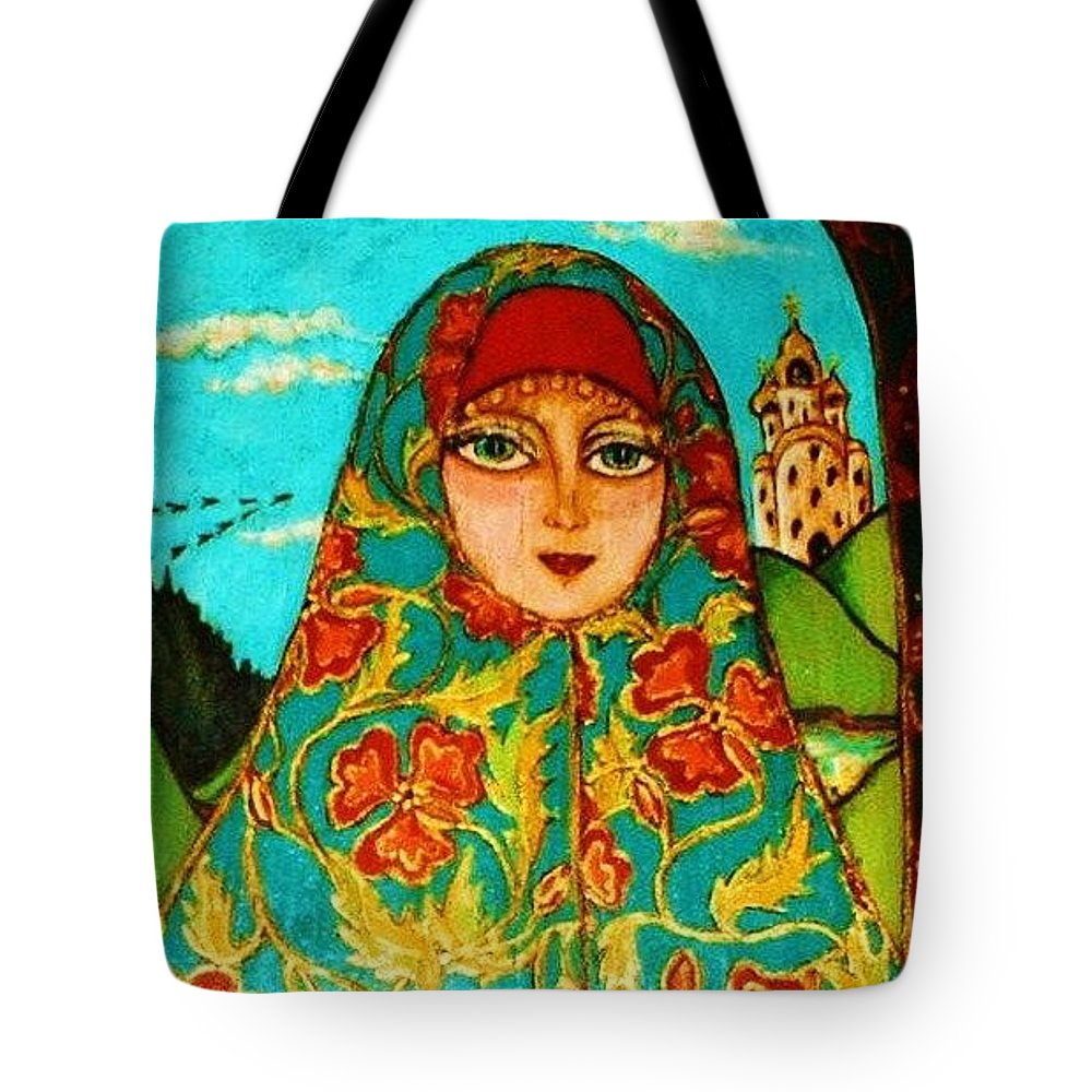 Original Art Tote Bag featuring the greeting card Hilltop Church by Rae Chichilnitsky