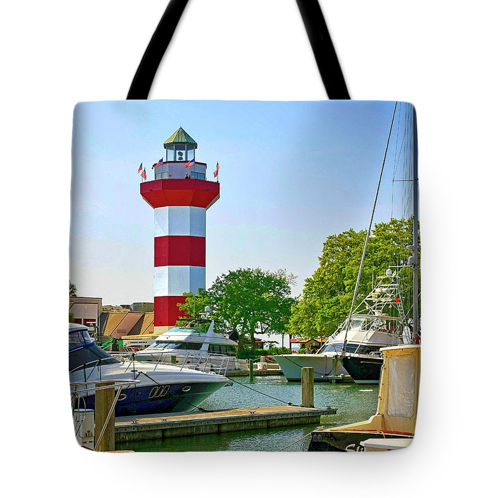American Tote Bag featuring the photograph Hilton Head Lighthouse Sc by Chris Smith