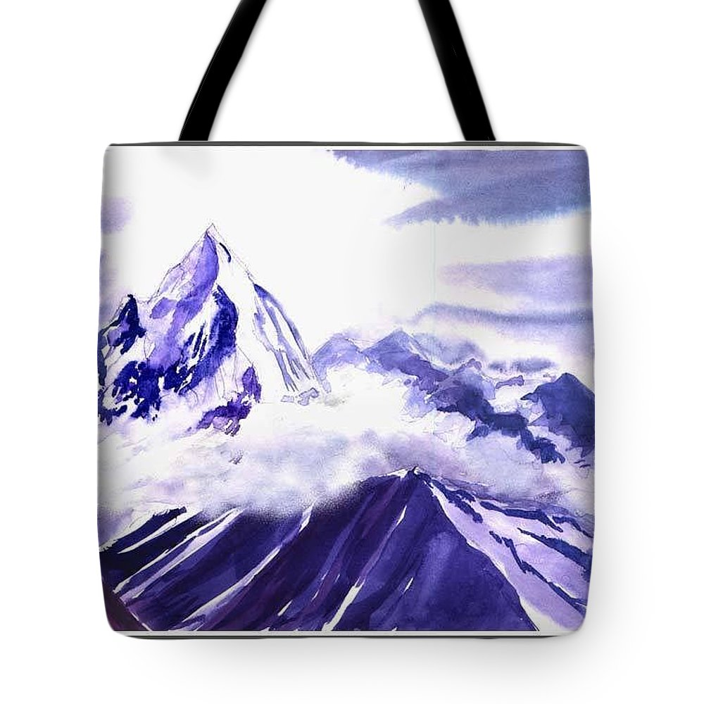 Landscape Tote Bag featuring the painting Himalaya by Anil Nene