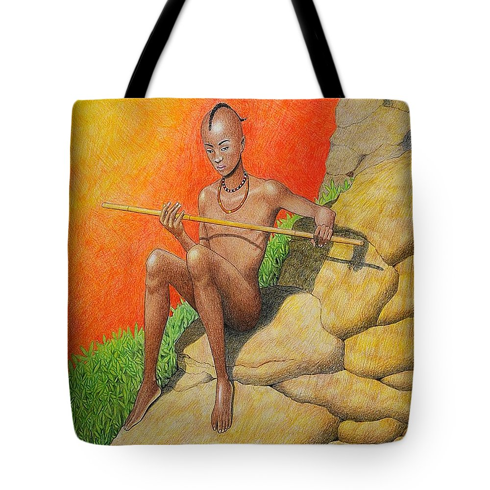 Children Tote Bag featuring the drawing Himba Omu-atje by Jay Thomas II