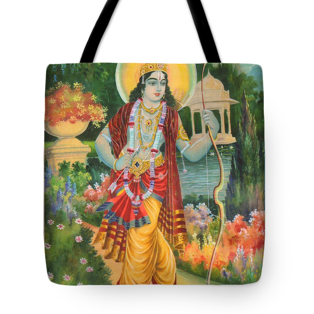 b60d312e7343 Hindu God Ram Religious Painting Artwork India Tote Bag for Sale by ...