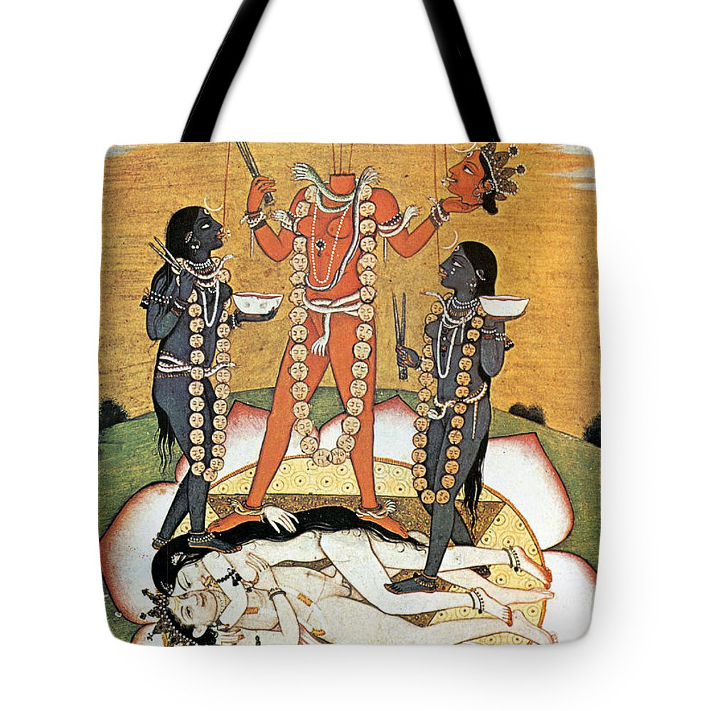 Tote Bag featuring the painting Hindu Goddess: Kali by Granger