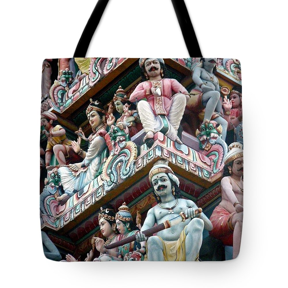 Hindu Temple Tote Bag featuring the photograph Hindu Temple Little India Singapore by Mark Sellers