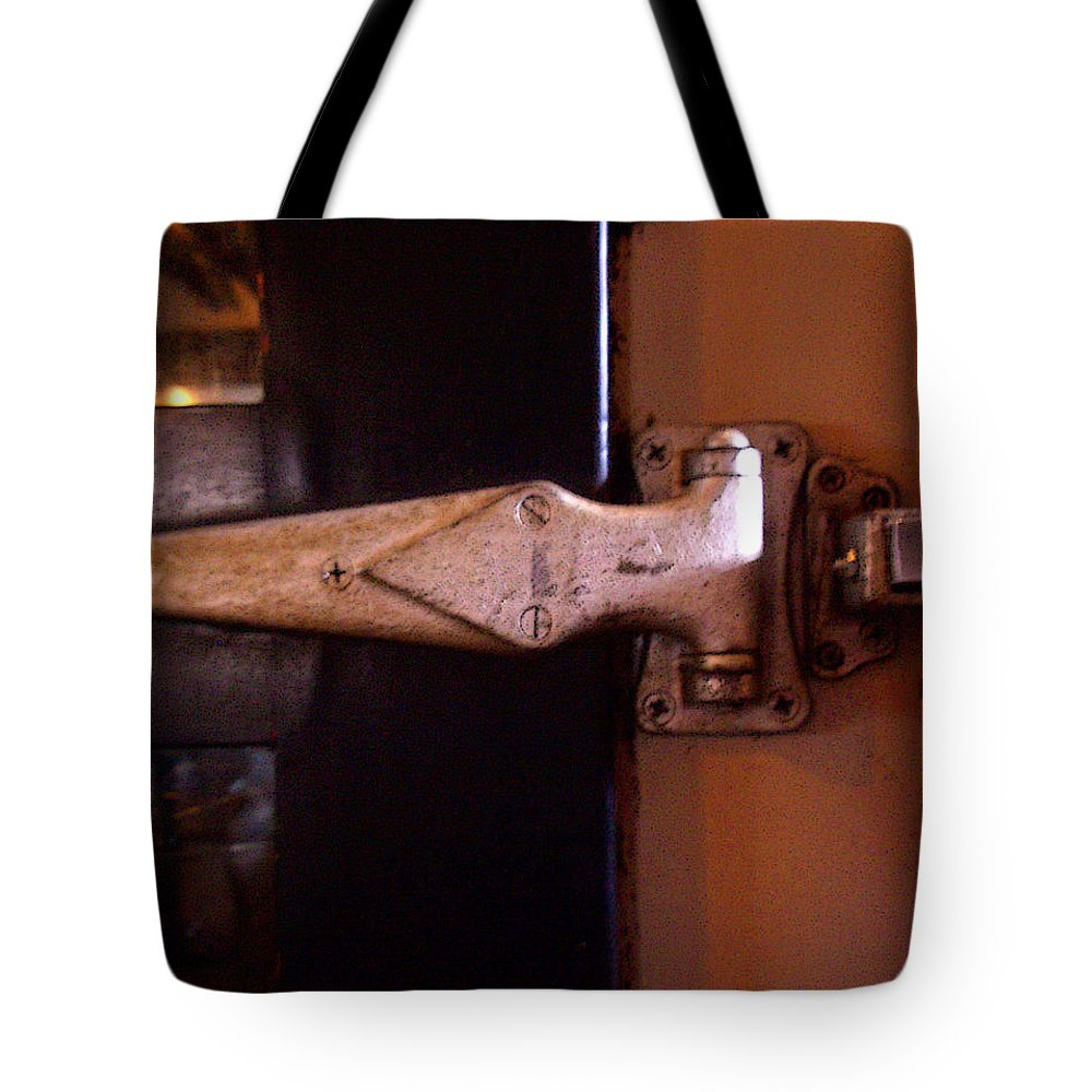 Hinge Tote Bag featuring the photograph Hinge by Tim Nyberg