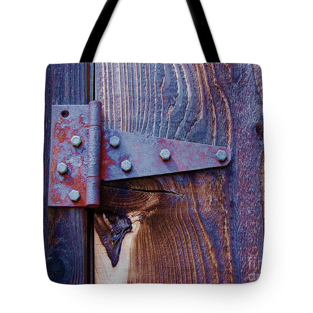 Hinge Tote Bag featuring the photograph Hinged by Debbi Granruth