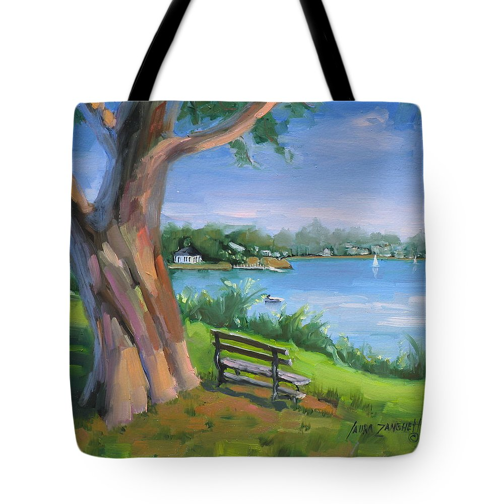 Seascape Tote Bag featuring the painting Hingham's Beauty by Laura Lee Zanghetti