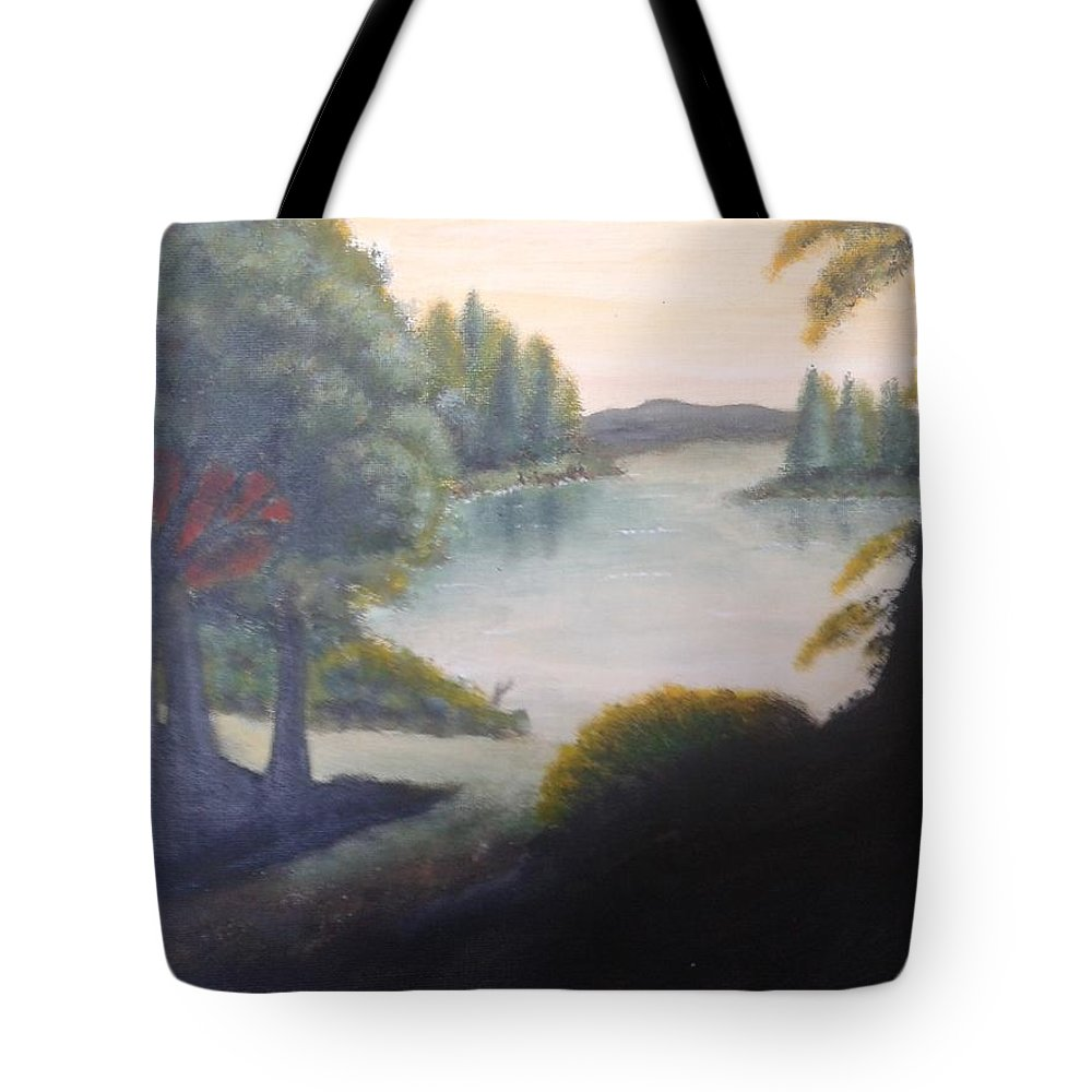 Lake Dusk Shade Tree Tote Bag featuring the painting Hint Of A Lake by Luca Pisanu