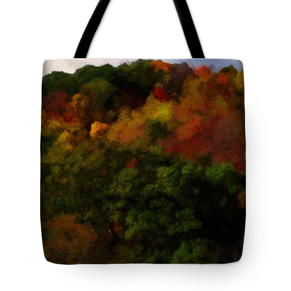 Fall Tote Bag featuring the painting Hint Of Fall Color Painting by Teresa Mucha