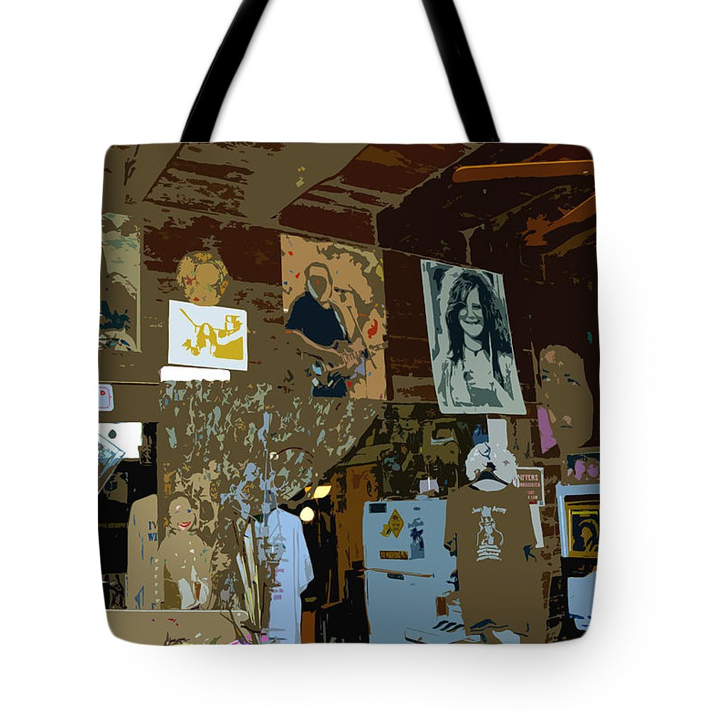 Hippies Tote Bag featuring the painting Hippie Hang Out by David Lee Thompson
