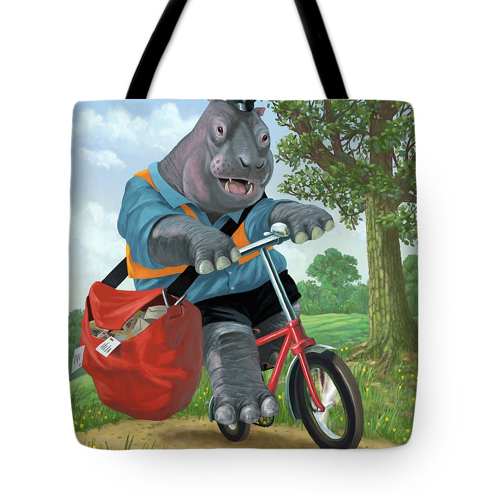 Hippo Tote Bag featuring the painting Hippo Post Man On Cycle by Martin Davey