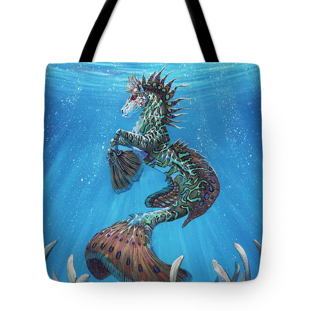 Seahorse Tote Bag featuring the painting Hippocampus by Stanley Morrison