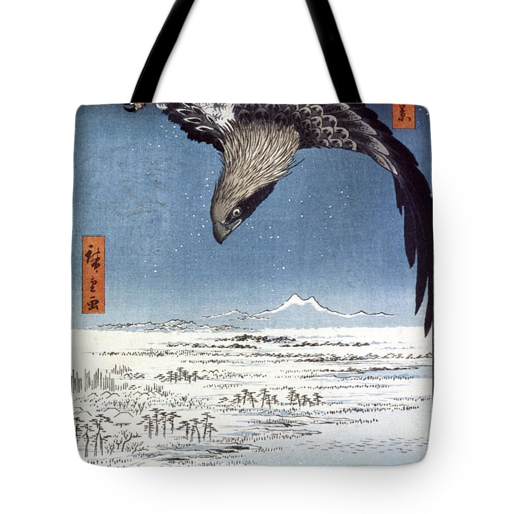 100 Famous Views Of Edo Tote Bag featuring the photograph Hiroshige: Edo/eagle, 1857 by Granger