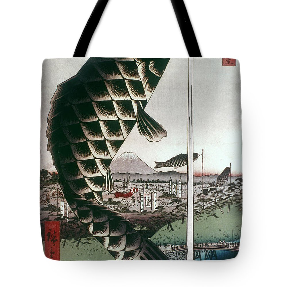 100 Famous Views Of Edo Tote Bag featuring the photograph Hiroshige: Kites, 1857 by Granger