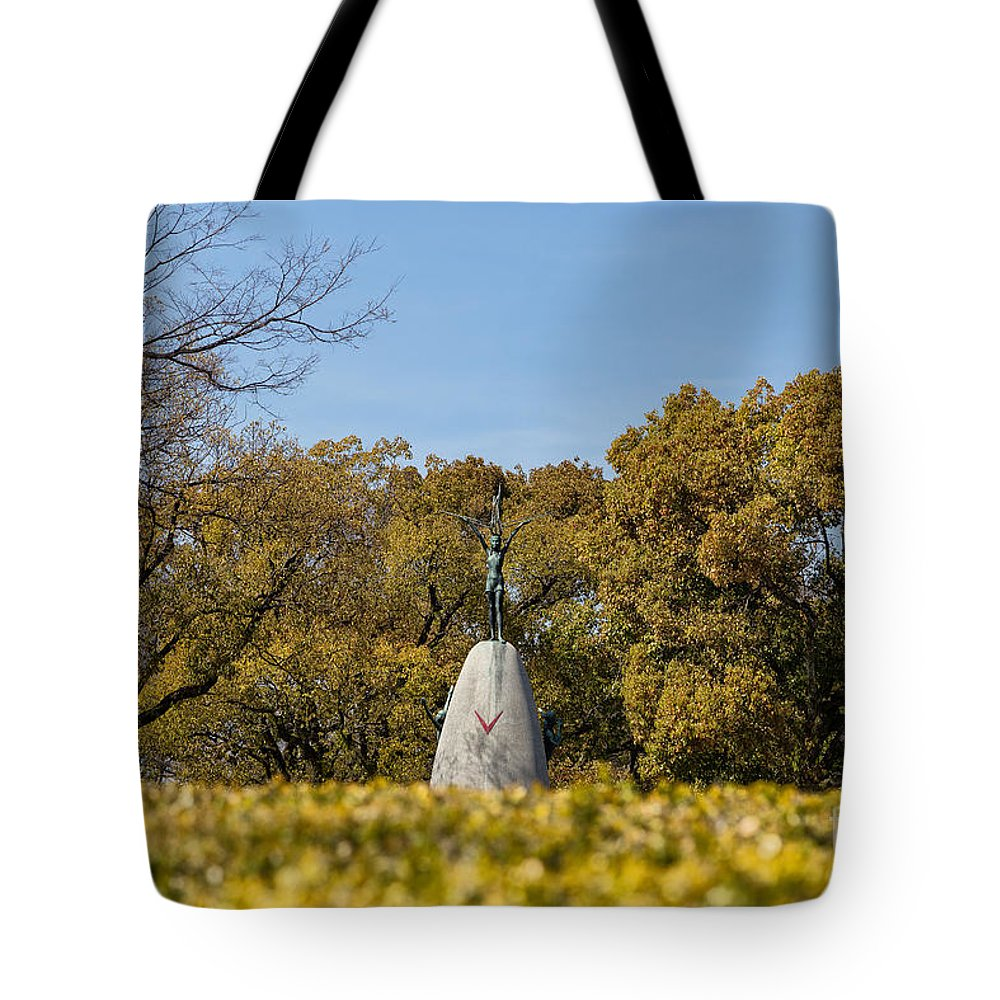 Hiroshima Tote Bag featuring the photograph Hiroshima Peace Memorial Park Children's Monument 2 by Rhonda Krause