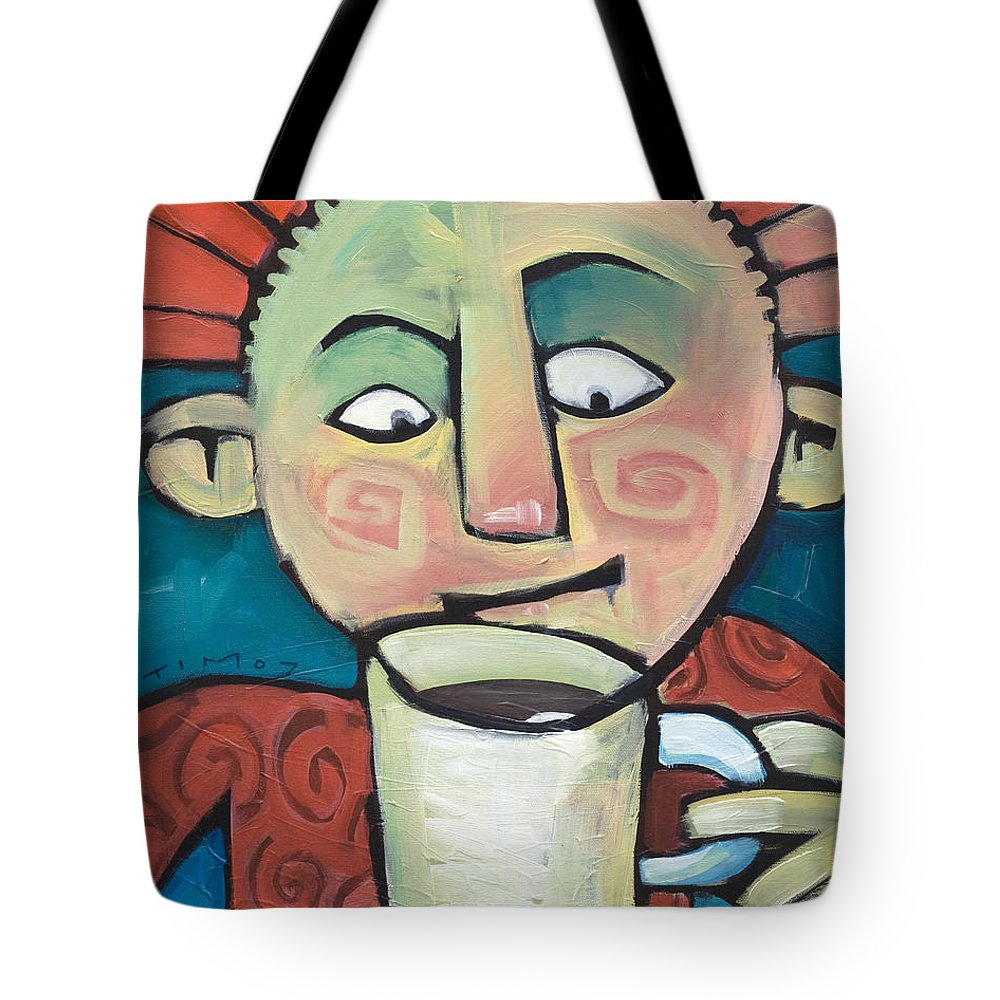 Smile Tote Bag featuring the painting His Coffee Spoke To Him by Tim Nyberg