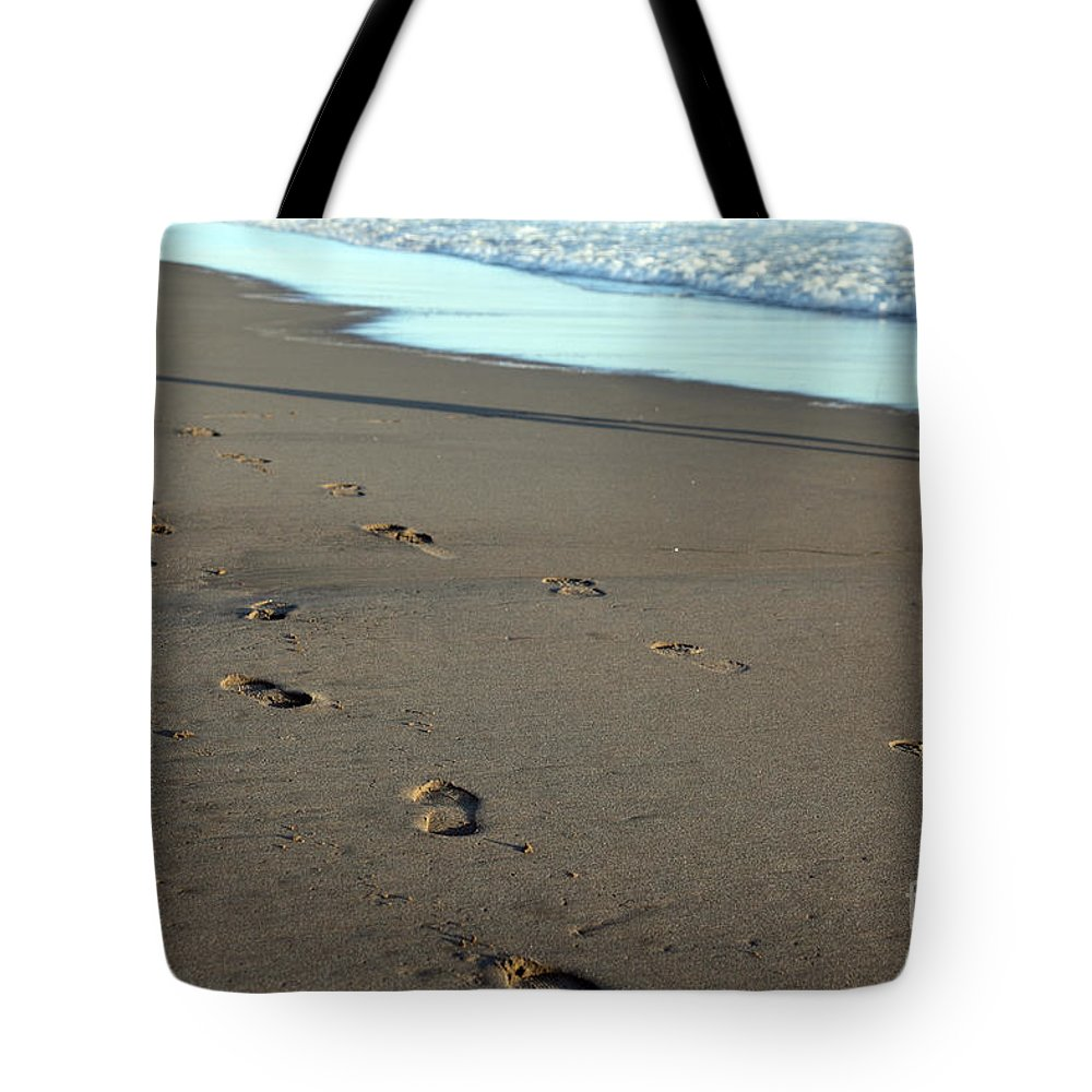 Sand Tote Bag featuring the photograph His Path by Amanda Barcon