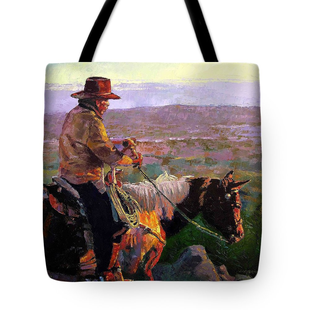 Coyboy Tote Bag featuring the painting His Two Best Friends by John Lautermilch